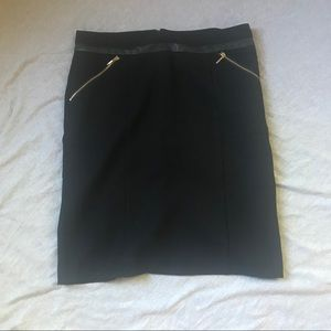 Rafaella Black Pencil Skirt with Faux Leather Trim